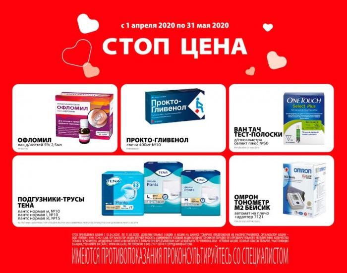 Акции Аптеки Ригла апрель-май 2020. Стоп-цена
