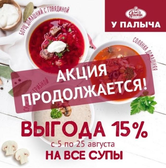 Акции От Палыча август 2019. 15% на все супы