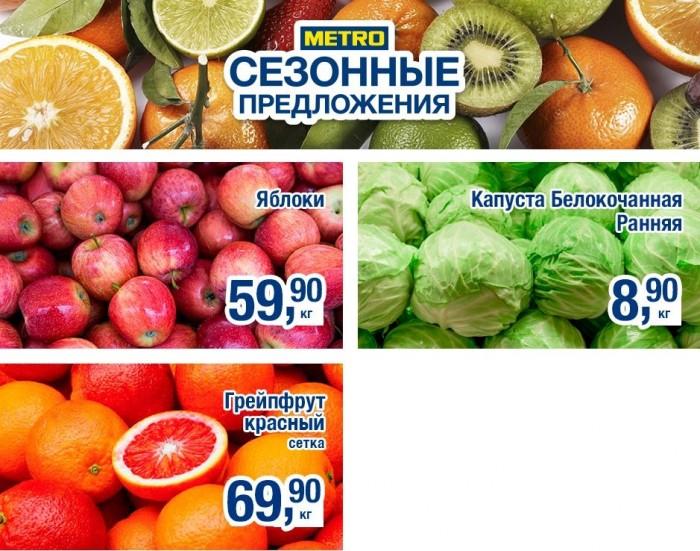 Акция в МЕТРО на фрукты и овощи с 21 по 24 сентября 2017 года