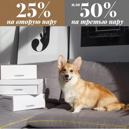 Акции ZENDEN 2019. 25% на вторую и 50% на третью пару