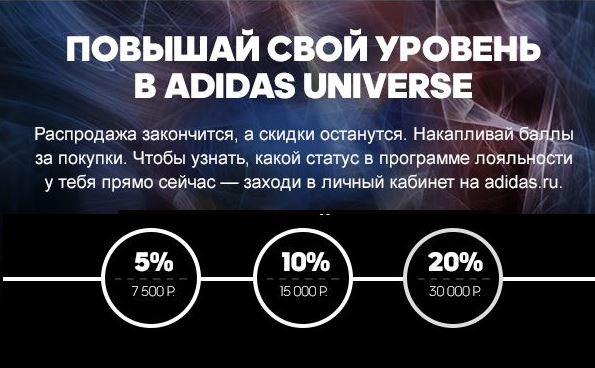 АДИДАС- скидки до 20% по карте Universe