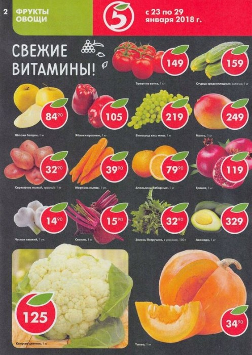 Акции и скидки в Пятерочке с 23 января 2018. Каталог супер-цен