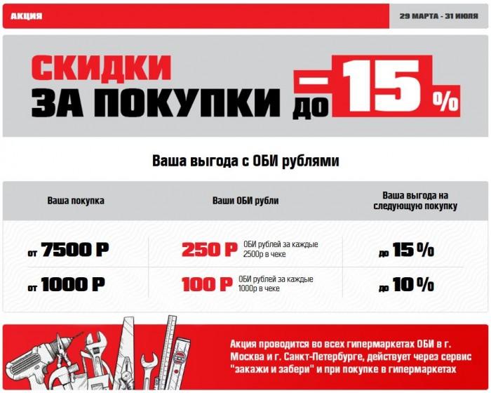 Акции ОБИ рубли 2018. Скидки за покупки до 15%