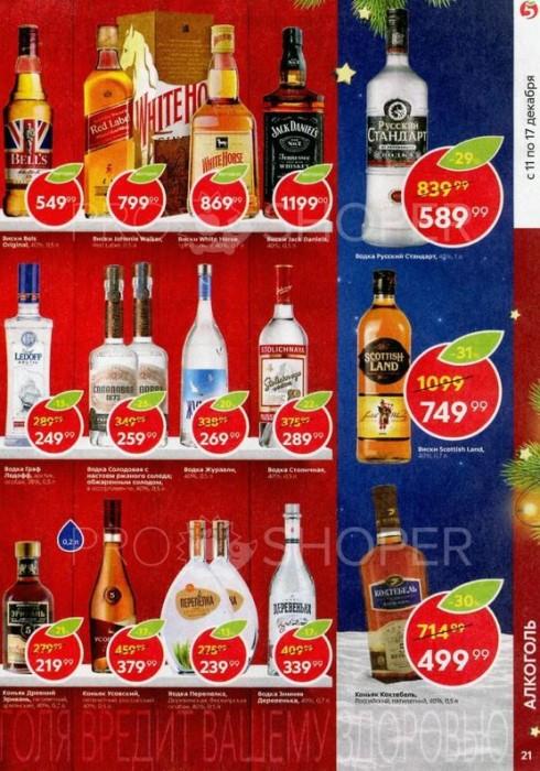 Акции в Пятерочке на алкоголь с 11 по 17 декабря 2018. Супер-скидки