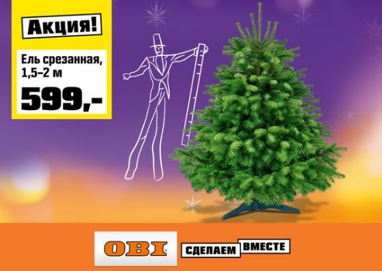 ОБИ - Специальные цены на живые ели